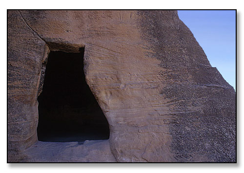 Detail of Nabataean cave. <br>Siq Al Bayad near the ancient city of Petra, Jordan. August 1997.